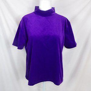 Purple Velvet Top / Velvet Shirt / Vintage